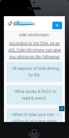 Colin Simmons Driving Website